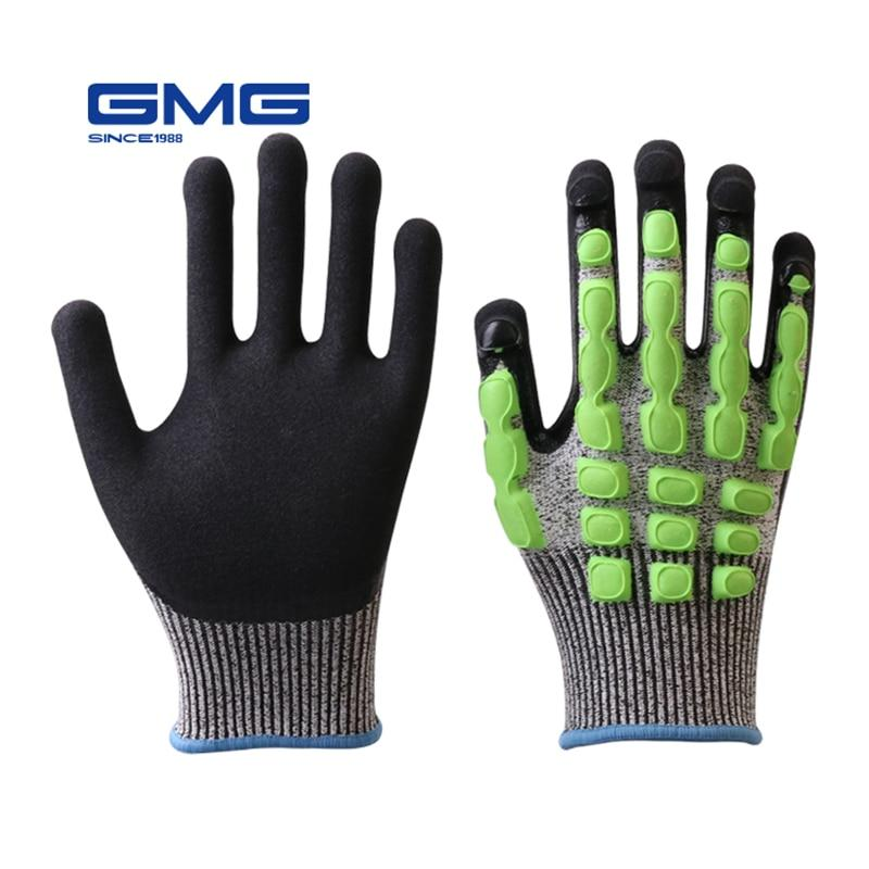 Impact Gloves GMG Cut Resistant Grey Black HPPE Shell Black Nitrile Sandy Coating Work Safety Gloves Work Glove - thegsnd