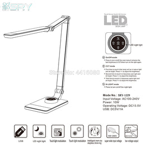 Italy flicker free led desk Lamps office table lamp student reading lamp fashion light Free rotation Angle eyeshield SRY-1229S - thegsnd