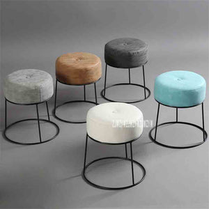 Wondrous Jd012 Modern Minimalist Round Stool Portable Stackable Metal And Leather Soft Cover Low Stool Living Room Soft Upholstered Stool Dailytribune Chair Design For Home Dailytribuneorg