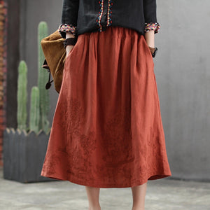 Johnature 2019 New Style Cotton Linen Casual Elastic Waist Embroidery Skirt Female Spring Loose Solid a-line Women Skirt - thegsnd