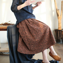 Load image into Gallery viewer, Johnature Women Floral Skirts Korean Style 2019 Spring New Pockets Elastic Waist Vintage Women Pleated Skirts - thegsnd