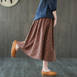Johnature Women Floral Skirts Korean Style 2019 Spring New Pockets Elastic Waist Vintage Women Pleated Skirts - thegsnd