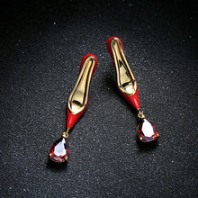 Load image into Gallery viewer, KISS ME Women Dangle Earrings Newest Red Heeled Enamel Glass Water Drop Earrings Copper Fashion Jewelry - thegsnd