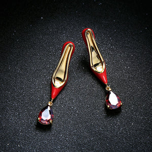 KISS ME Women Dangle Earrings Newest Red Heeled Enamel Glass Water Drop Earrings Copper Fashion Jewelry - thegsnd