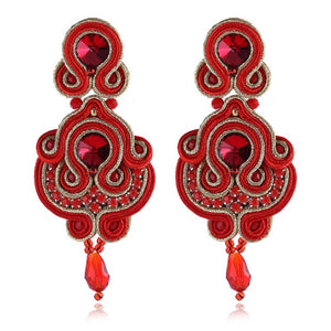KPACTA Fashion Simplicity Ethnic Hanging Earring Jewelry For Women Rhinestone Soutache Handmade Process Drop Earring Oorbellen - thegsnd