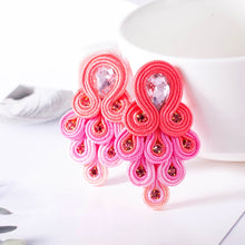 Load image into Gallery viewer, KPacTa Fashion Soutache Handmade Long Earring Ethnic Jewelry Women Crystal Decoration Peacock Tail Shape Drop Earring Oorbellen - thegsnd
