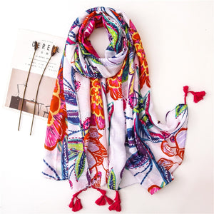 KYQIAO Ethnic head scarf 2019 women autumn spring Spain style hippie bohemian romantic long floral print scarves - thegsnd