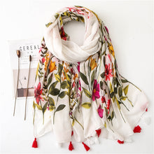 Load image into Gallery viewer, KYQIAO Ethnic head scarf 2019 women autumn spring Spain style hippie bohemian romantic long floral print scarves - thegsnd