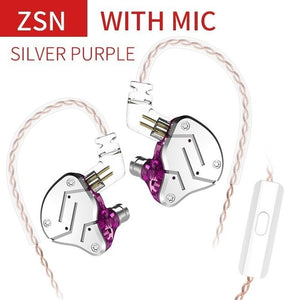 KZ ZSN Metal Earphones Hybrid technology 1BA+1DD HIFI Bass Earbuds In Ear Monitor Headset Sport Noise Cancelling Headphones - thegsnd