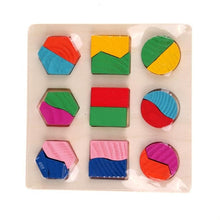 Load image into Gallery viewer, Kids Puzzle Toys Study Birthday Gift for Kids Colorful Square Shape Montessori Wooden Math Toy Early Educational Learning Puzzle-Wooden Toy-thegsnd-Black-Spain-thegsnd