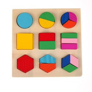 Kids Puzzle Toys Study Birthday Gift for Kids Colorful Square Shape Montessori Wooden Math Toy Early Educational Learning Puzzle-Wooden Toy-thegsnd-White-Spain-thegsnd
