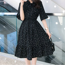 Load image into Gallery viewer, Korean Casual Print Women Dress Bohemian Ladies Flare Half Sleeves Knee-length Bow O-neck Dresses Women Chiffon Dress - thegsnd