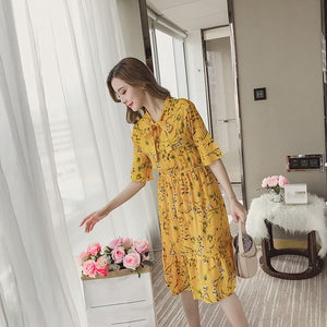 Korean Casual Print Women Dress Bohemian Ladies Flare Half Sleeves Knee-length Bow O-neck Dresses Women Chiffon Dress - thegsnd