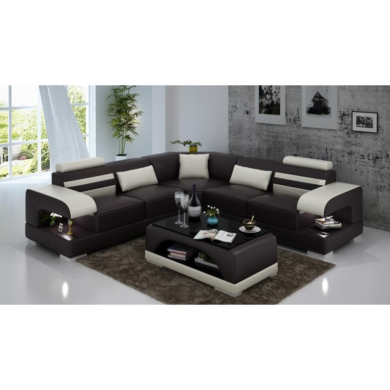 L shape dark brown 7 seater sectional sofa set designs with arm - thegsnd