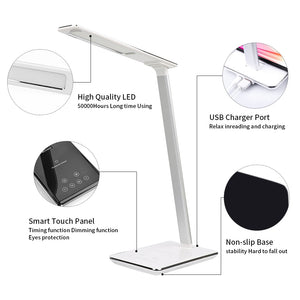 LED Table Desk Lamp 2 In 1 QI Wireless Charging Creative Eye Protection Multi-Function Reading Light For Mobile Phone charge - thegsnd