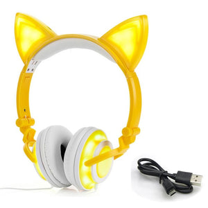 LIMSON Wired Folding Earphones Animal Cat Ear Headphones LED Flashing Gift for Kids Girls and Boys - thegsnd