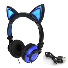 Load image into Gallery viewer, LIMSON Wired Folding Earphones Animal Cat Ear Headphones LED Flashing Gift for Kids Girls and Boys - thegsnd
