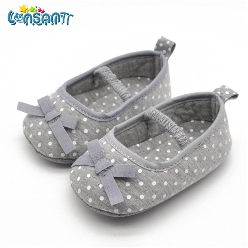 LONSANT 2018 Cute Infant Girls Shoes Dot Bowknot Soft Bottom Prewalker Spring Autumn Children Shoes First Walker Dropshipping - thegsnd