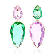 Load image into Gallery viewer, Large Water Drop Stone Earrings Personalized Carrot Design Asymmetry Color Zircon Stone Fashion Drop Earrings for Women Girls - thegsnd