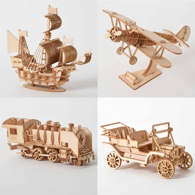 Laser Cutting Sailing Ship Biplane Steam Locomotive Toys 3D Wooden Puzzle Assembly Wood Kits Desk Decoration for Children Kids-Gaming Zone-thegsnd-thegsnd