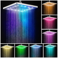 Led Shower Head Square Bath Faucet Stainless Steel Shower Rainfall Rain Shower Head High Pressure Rainshower Self-Discoloring-Shower Set-thegsnd