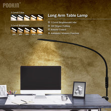 Load image into Gallery viewer, Long Arm Table Lamp Clip Office Led Desk Lamp Remote Control Eye-protected Lamp For Bedroom Led Light 5-Level Brightness&Color - thegsnd
