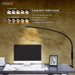 Long Arm Table Lamp Clip Office Led Desk Lamp Remote Control Eye-protected Lamp For Bedroom Led Light 5-Level Brightness&Color - thegsnd