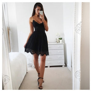 Lossky Summer Party Dress Sexy White Pink Deep V Neck Backless Lace Short Dress Women Casual Bandage Spaghetti Strap Midi Dress - thegsnd