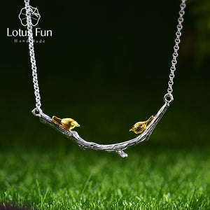 Lotus Fun Real 925 Sterling Silver Natural Original Handmade Fine Jewelry Bird on Branch Necklace for Women Bijoux - thegsnd