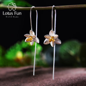 Lotus Fun Real 925 Sterling Silver Natural Original Handmade Fine Jewelry Cute Blooming Flower Fashion Drop Earrings for Women - thegsnd