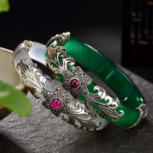 Load image into Gallery viewer, LouLeur 925 sterling silver jade bangles silver green white handmade natural jade bangles fashion jewelry  for women charms - thegsnd