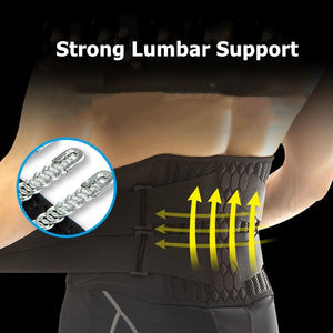 Lumbar Waist Support Belt Strong Lower Back Brace Support Corset Belt Waist Trainer Sweat Slim Belt for Sports Pain Relief New - thegsnd