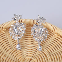Load image into Gallery viewer, Luxury Korean Wedding drop Earrings for Women Crystal Rhinestone Bridal Long Earrings 2018 Party Prom Christmas  earring Jewelry - thegsnd