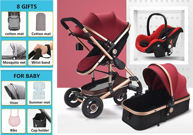 Luxury Multifunctional 3 in 1 Baby Stroller Portable High Landscape Stroller Folding Carriage Red Gold Newborn Baby Stroller-Baby Handling-thegsnd