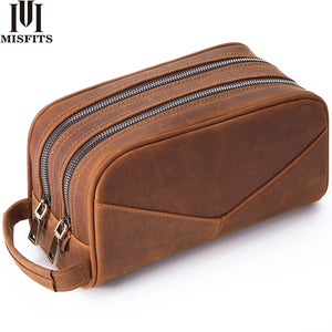 MISFITS Genuine Leather Men Wash Bag Fashion Makeup Bag Women Hand-held Cosmetic Case Large Capacity Brand Designer Toiletry Bag - thegsnd