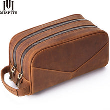 Load image into Gallery viewer, MISFITS Genuine Leather Men Wash Bag Fashion Makeup Bag Women Hand-held Cosmetic Case Large Capacity Brand Designer Toiletry Bag - thegsnd