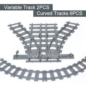 Marumine City Trains Track Rail 10-100 Pcs/Lot Straight & Curved Rails Variable Soft Tracks Train Building Blocks Bricks Model-Kids Playing Zone-thegsnd