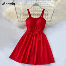 Load image into Gallery viewer, Marwin 2019 New-Coming Summer Solid Knee-Length Spaghetti Strap Strapless Dresses High Street Empire Style Party Holiday Dresses - thegsnd