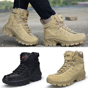 Men Outdoor Sneakers Wear-resistant Lace-up Hiking Shoes Waterproof Anti-Skidding Male Leather Boots Warm Sneaker - thegsnd