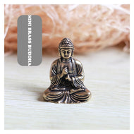Mini Portable Vintage Brass Buddha Statue Pocket Sitting Buddha Figure Sculpture Home Office Desk Decorative Ornament Toy Gift - thegsnd