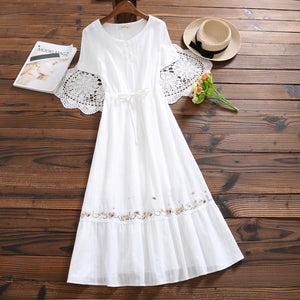 Mori Girl White Summer Dress 2019 New Women Cotton and Linen Embroidery Dresses Japanese Long Vintage Vestidos Clothes - thegsnd