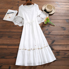 Load image into Gallery viewer, Mori Girl White Summer Dress 2019 New Women Cotton and Linen Embroidery Dresses Japanese Long Vintage Vestidos Clothes - thegsnd