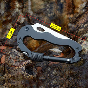 Multi-function Outdoor Camping Hiking Tools 5 in 1 Foldable Knife Screwdriver Aluminum Climbing Carabiner Hook Buckle Rock Lock - thegsnd