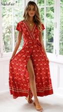 Load image into Gallery viewer, Nadafair Vintage Floral Print Boho Dress Women Sexy Maxi Beach Summer Dress Vestidos Short Sleeve Sash Split Retro Long Dress - thegsnd