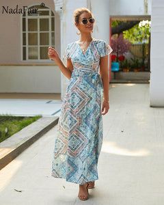 Nadafair Vintage Floral Print Boho Dress Women Sexy Maxi Beach Summer Dress Vestidos Short Sleeve Sash Split Retro Long Dress - thegsnd