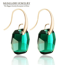 Load image into Gallery viewer, Neoglory Light Yellow Gold Color Austrian Crystal Big Chandelier Drop Earrings for Women 2018 New Indian Style Green Jewelry JS9 - thegsnd