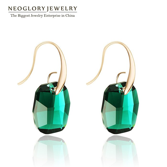 Neoglory Light Yellow Gold Color Austrian Crystal Big Chandelier Drop Earrings for Women 2018 New Indian Style Green Jewelry JS9 - thegsnd
