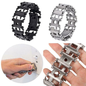 New 29 In 1 Outdoor Multi Functions Survival Bracelet Wearable EDC Camping Hiking Tools Bracelet Screwdriver  Bottle Opener Tool - thegsnd