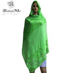 New African Scarf, African muslim embroidery lace cotton scarf ,soft cottton scarf for shawls wraps - thegsnd