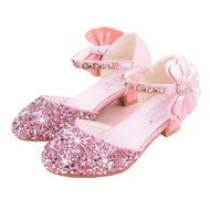New Princess Children Shoes For Girls Pu Leather Bowknot High-heeled Sandals Girls Party kids Sandals Dress Shoes Size 26-36 - thegsnd